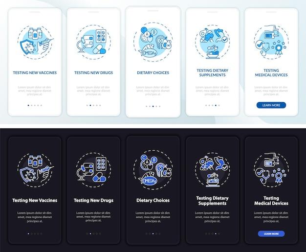 개념이있는 모바일 앱 페이지 화면 온 보딩 연구 유형