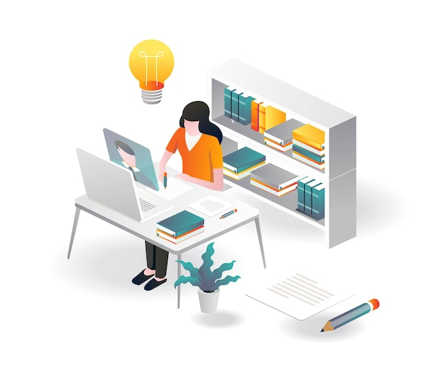 Study with a private library in isometric illustration