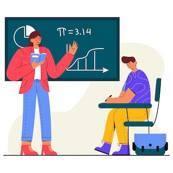 Study with a teacher flat illustration