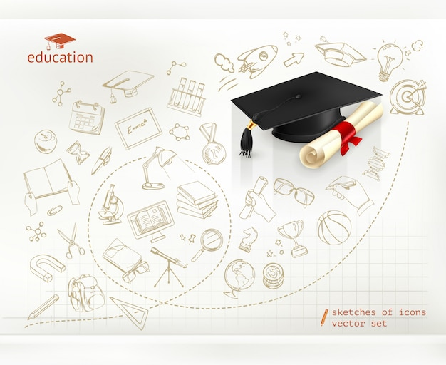 勉強と教育、インフォグラフィック、ベクトルイラスト