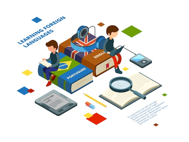 Studying foreign languages. books vocabulary and students speak on various languages online learning isometric concept