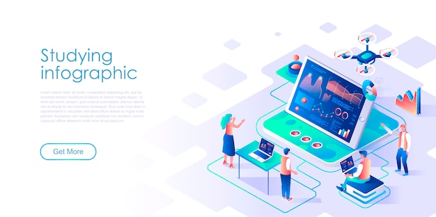 Studying infographic isometric landing page template