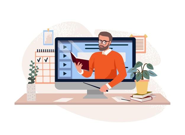 教師とオンラインで勉強するオンライン学習ウェビナービデオレッスンオンラインコースインターネット教育フラットイラスト