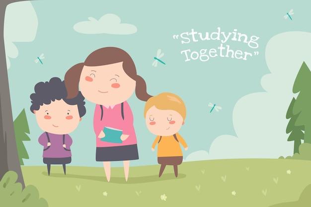 함께 공부, 플랫 ilustration 귀여운 아이 desin