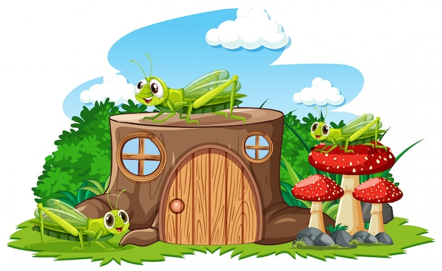 Stump house with grasshoper cartoon style on white background