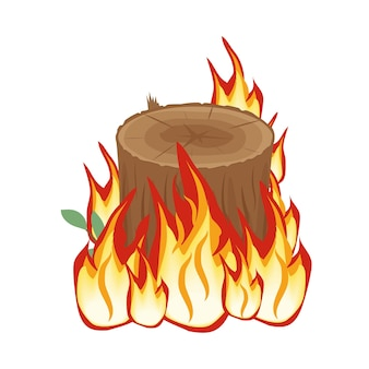 火の切り株、火、白い背景の色分離ベクトル図