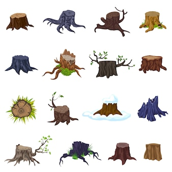 Stumps icons set. cartoon set of stumps icons