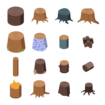 Stumps tree icons set, isometric style