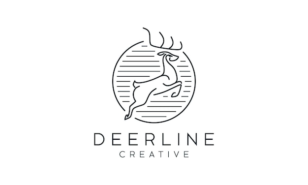 Stunning elegant deer outline logo
