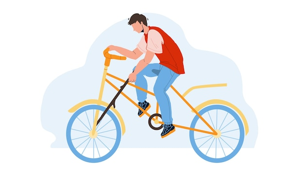 Stupidity boy put spoke in bicycle wheel vector. stupid man bicycling and putting stick in transport wheel. character guy riding bike and make dangerous action flat cartoon illustration
