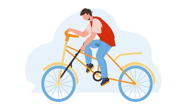 어리석은 소년은 자전거 바퀴 벡터에 스포크를 넣었습니다. 바보 같은 남자 자전거와 전송 바퀴에 스틱을 넣어. 캐릭터 가이는 자전거를 타고 위험한 액션 플랫 만화 삽화를 만듭니다.