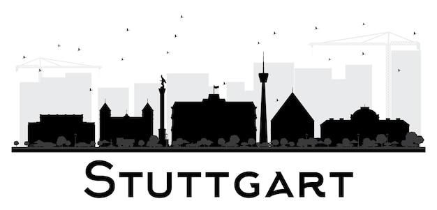 Штутгарт горизонт черно-белый силуэт. векторная иллюстрация. простая плоская концепция для туристической презентации, баннера, плаката или веб-сайта. городской пейзаж с достопримечательностями.