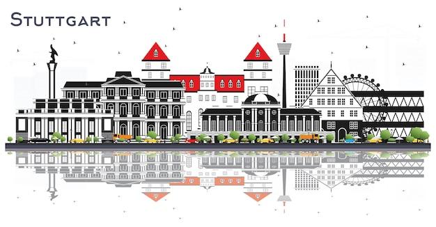 Горизонты штутгарта германия с зданиями цвета и размышлениями, изолированными на белом векторе
