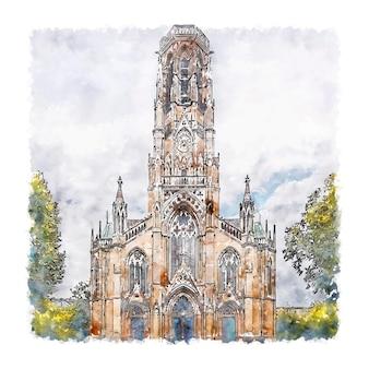 슈투트가르트 독일 수채화 스케치 손으로 그린 그림