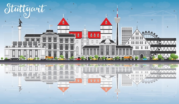 Stuttgart skyline with gray buildings blue sky and reflections vector illustration
