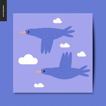 Stwo flying blue birds in the blue sky with clouds postcard