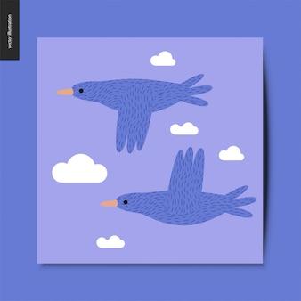 Stwo летающих синих птиц в голубое небо с облаками открытку