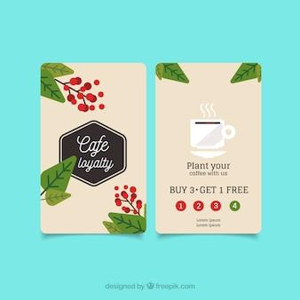 Шаблон карточки лояльности кофейня магазина с шикарным stye