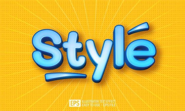 Style 3d text editable style effect template