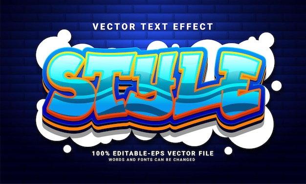Style 3d text effect, editable graffiti and colorful text style