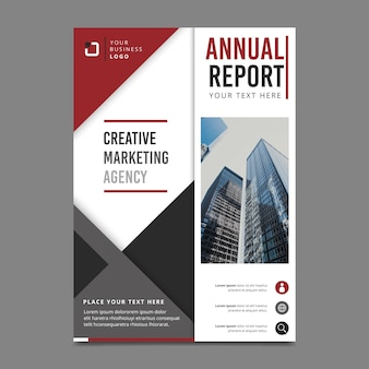 Style for annual report template with photo