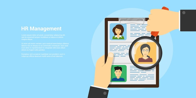 Style banner, human resource and recruiting concept, human hand with magnifying glass and people avatars