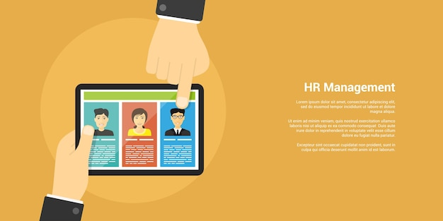 Style banner, human resource and recruiting concept, human hands, digital tablet and people avatars