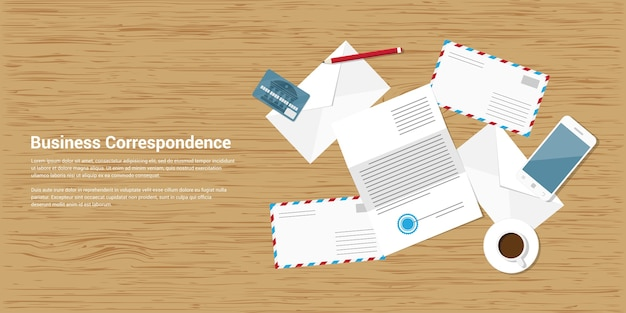 Style banner illustration of business correspondence and mailing concept