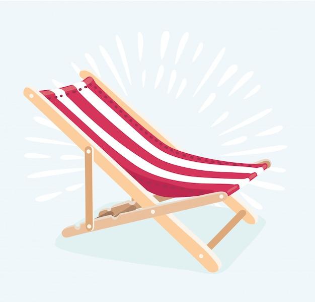Стиль иллюстрации шезлонга для летних каникул и концепции путешествий