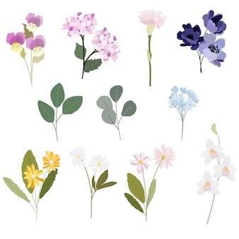 흰색 배경에 고립 된 분홍색과 보라색 톤 컬렉션 스타일 아름다운 꽃