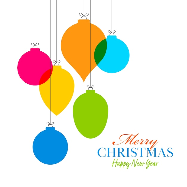 Style colorful baubles hang on white background for merry christmas & happy new year celebration.