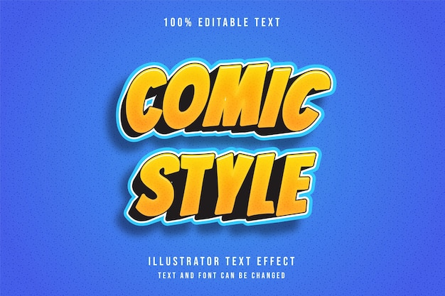 스타일 만화, 3d 편집 가능한 텍스트 효과 노란색 그라데이션 주황색 파란색 패턴 현대 만화 스타일