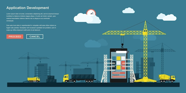 Style concept for smartphone application development working process, metaphorical representation of app development workflow like industrial construction with lifting cranes, trucks etc.