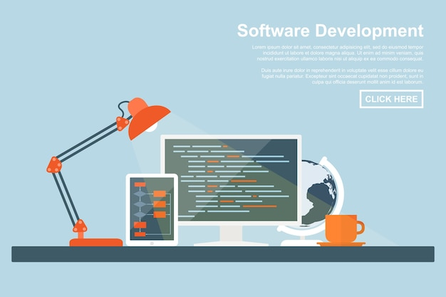 Style concept for software development, programming and coding, search engine optimization, web development concepts