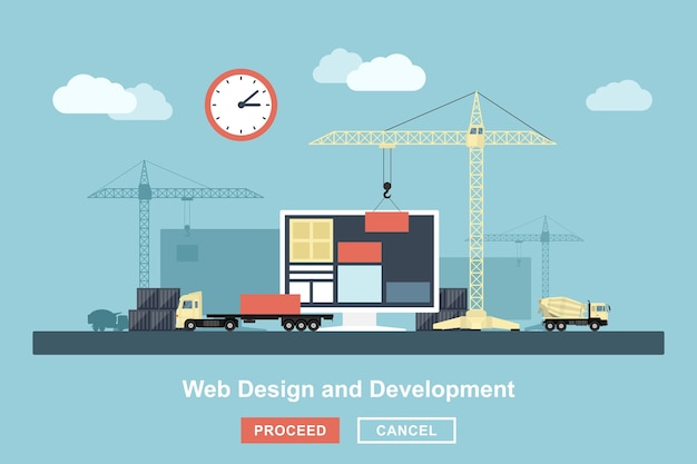 Style concept for web design working process, metaphorical representation of web design workflow like industrial construction with lifting cranes, trucks etc.