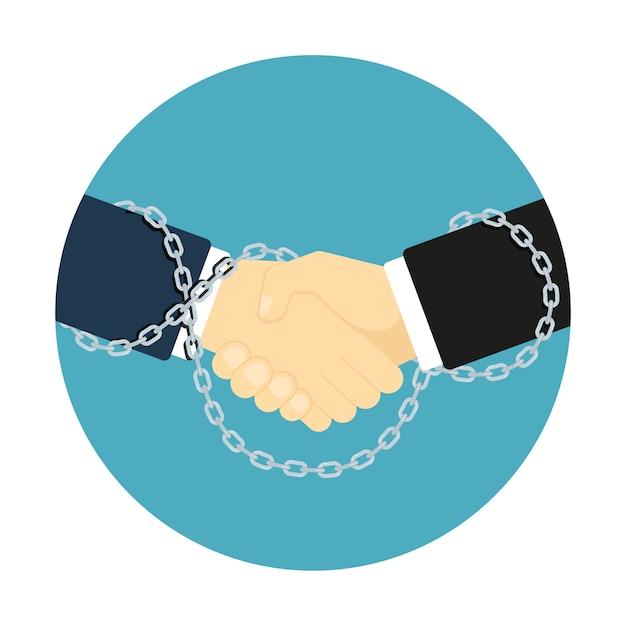 Икона стиля рукопожатие, изображение двух человеческих рук, связанных цепями, концепция делового партнерства