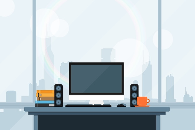 Style illustration of modern workspace in office with the wiev on the big sity panorama
