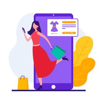インターネットストアで服を購入しながらオンラインショッピングのためのアプリを使用して現代の女性顧客のスタイルイラスト