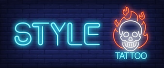 Style neon text with skull on fire