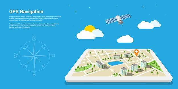 Стиль шаблона веб-баннера для веб-сайта или инфографики, мобильная навигационная система gps, место назначения, определение и поиск правильного пути.
