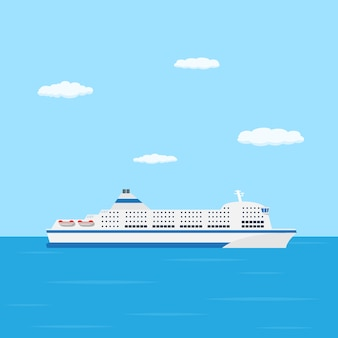 A  style picture of farry boat in the sea, traveling and transportation concept