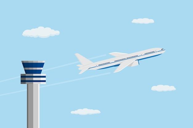 컨트롤 타워, 여행 및 운송 개념 앞의 민간 비행기의 스타일 사진