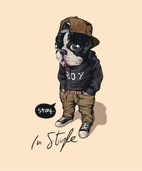 In style slogan with cartoon dog in street fashion style illustration