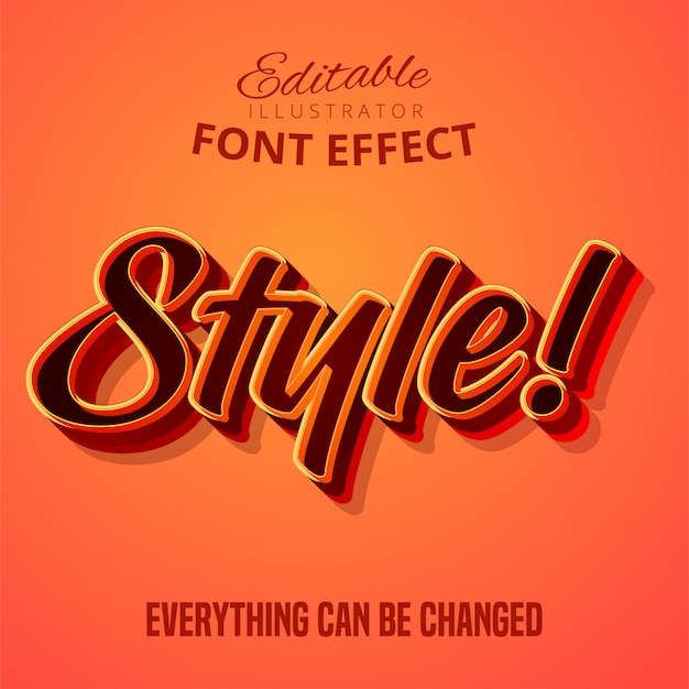 Style text, editable font effect