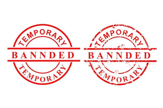 스타일 벡터, 깨끗하고 녹슨 빨간 고무 스탬프, 임시 금지, 흰색 절연