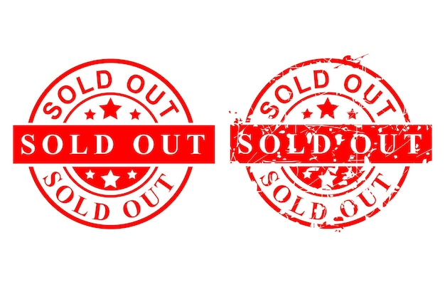 Style vector red circle rusty vector rubber stamp, sold out, isolated on white