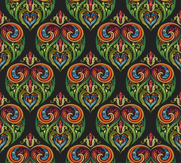 カラフルな装飾花民style風のシームレスパターン