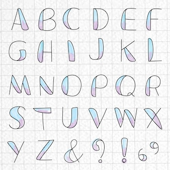 Styled alphabet and symbol set on a grid paper