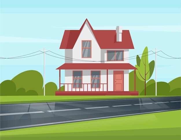 Styled renovated house with new windows and roof semi flat illustration