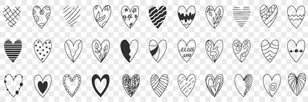 Styles of heart doodle set